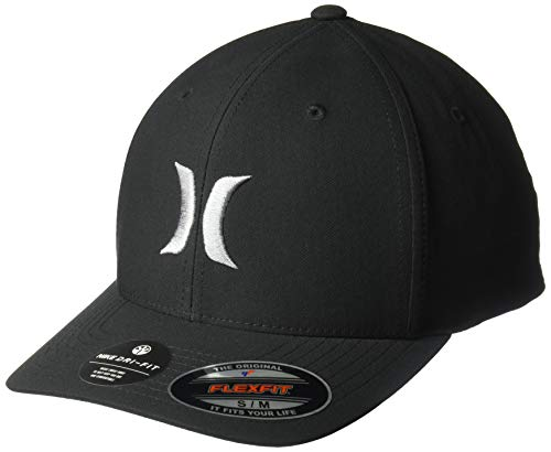 Hurley Men's Dri-Fit One & Only Flexfit Baseball Cap, Black/Cool Grey, S-M (Surfing Baseball Caps)