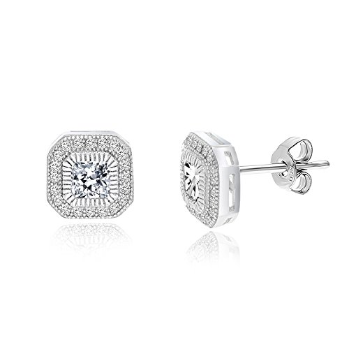 18K White Gold Over Sterling Silver Round and Square Halo Cubic Zirconia Post Earring (How To Make A Halo Costume)