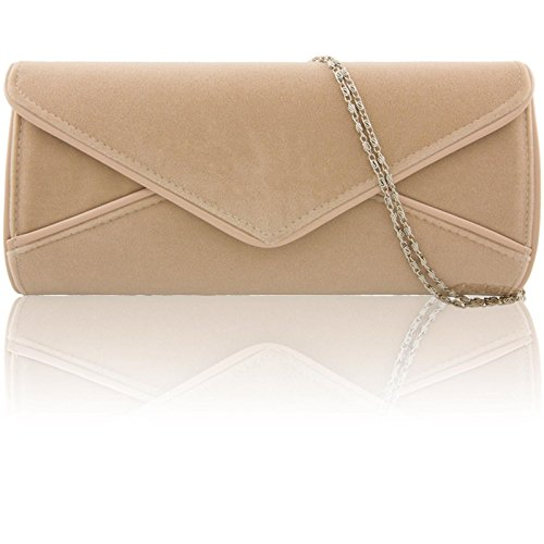 Clutch Designer Zarla Nude Uk Women Bridal Handbag Ladies Large Faux Suede Evening Envelope qxIXTFI