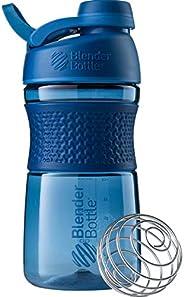 BlenderBottle SportMixer Shaker Garrafa perfeita para shakes de proteína e pré-treino, 590 ml, azul marinho