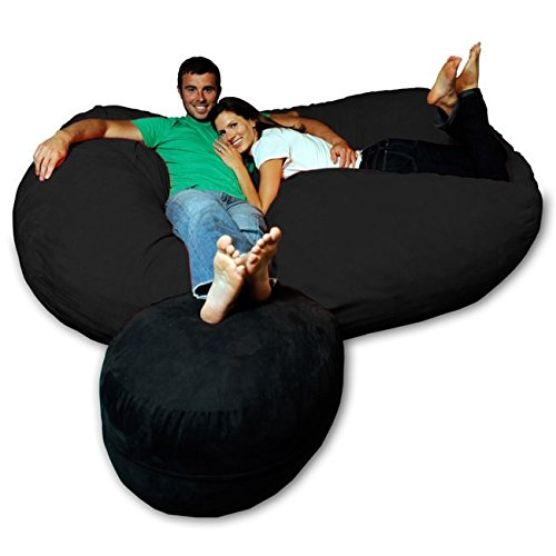 Theater Sacks LLC Soft Memory Foam Microsuede 7.5-Foot Beanbag Chair Lounger Black Micro Suede