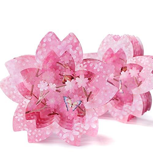 Nivalkid Cherry Blossom Shape Lace Wedding Invitation Card Party Blank Envelope Greeting Card Three-dimensional Bride High-end Wedding Invitation Greeting Card (Pink) ()