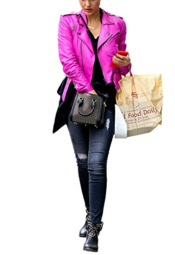 Ladies Lambskin Leather Coat Jacket (Kingdom Leather Women Leather Jacket Coat Genuine Lambskin Pure Leather Bomber Biker Jacket XW445 S)