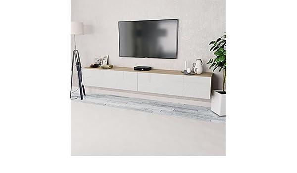Festnight- Mueble para TV Roble y Blanco con Brillo 2 Piezas: Amazon.es: Hogar