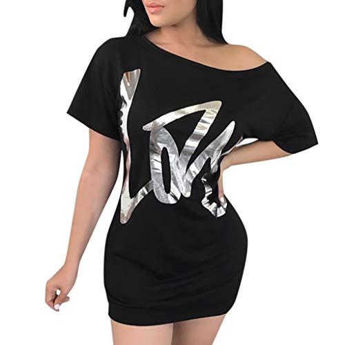 Sunhusing Women Sexy Round Neck Oblique Shoulder Gilded Letter Printing T-Shirt Dress Slim Short Bag Hip Dress Black