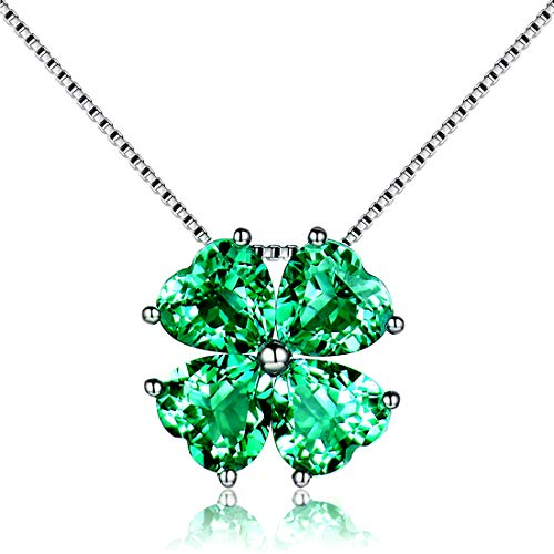 (JiangXin Birthstone Platinum Plated Pendant Necklace for Women Lucky Four-leaf-clover 925 Sterling Silver Fine Jewelry for Women Christmas Gift)