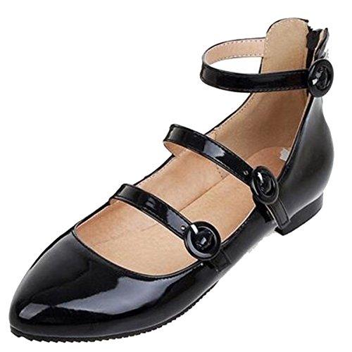 Chaussures Plates Élégantes En Cuir Verni Pour Femme Easemax Noir ... 47dd7b3647d6