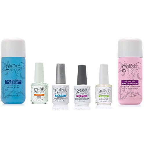 Gelish Soak Off Gel Nail Polish Basix Care Kit, 15 mL with Remover and Cleanser