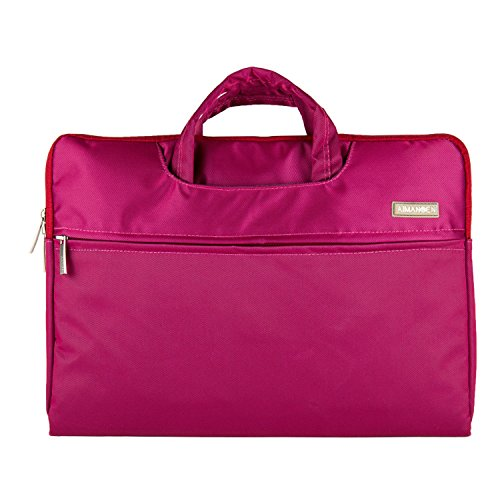 SumacLife Nylon Fabric Laptops / Notebook Briefcase HandBag Pouch Sleeve for Apple MacBook Air 13.3 / MacBook Pro 13.3 inch Laptop (Magenta)