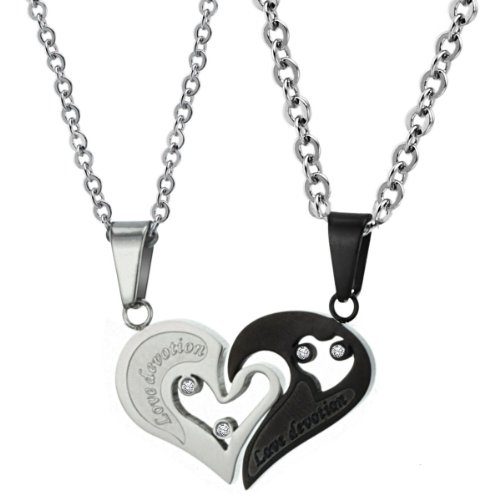 [Dixivi Jewelry a Pair Valentine Couple Matching Heart Engraved Promise Stainless Steel Necklace] (Matching His And Her Costumes)