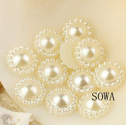 - BeesClover Multi Color 100pcs/lot 10mm Half Round ABS Imitation Pearl Beads Sunflower Flat Back Scrapbook Craft DIY Jewelry Findings Ivory