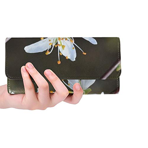 (Unique Custom Cherry Blossom Blossom Bloom Spring Bush Women Trifold Wallet Long Purse Credit Card Holder Case Handbag)