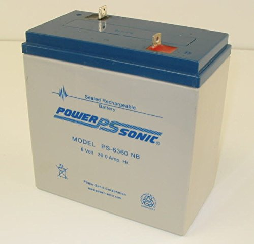 Powersonic PS-6360NB - 6 Volt/36 Amp Hour Sealed Lead Acid Battery with Nut-Bolt Terminal by Powersonic