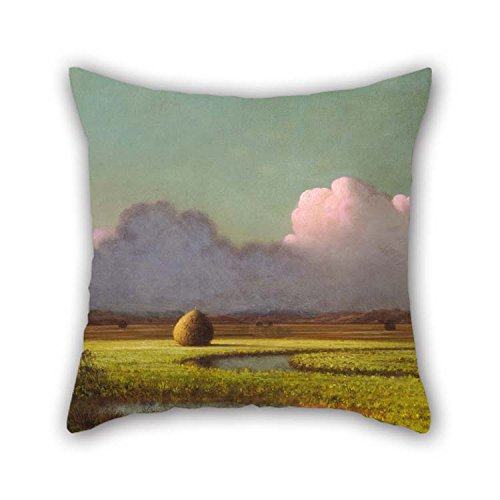 (Oil Painting Martin Johnson Heade - Sunlight And Shadow- The Newbury Marshes Pillow Cases 20 X 20 Inches / 50 By 50 Cm Gift Or Decor For Wedding Floor Kids Outdoor Car Seat Kids Girls - Double Sid)