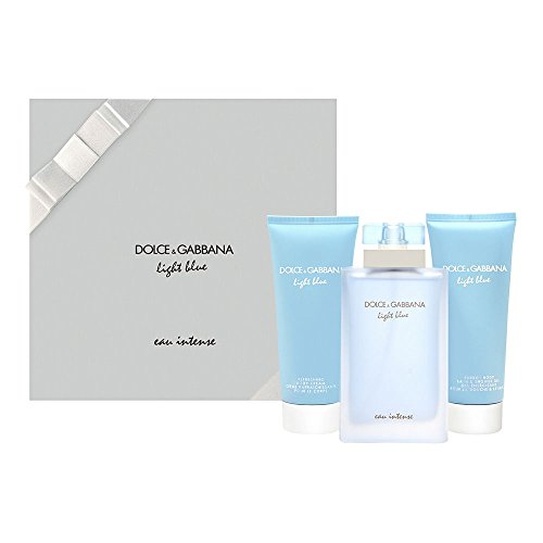 D & G Light Blue Eau Intense By Dolce & Gabbana For Women Eau De Parfum Spray 3.3 Oz & Body Cream 3.3 Oz & Shower Gel 3.