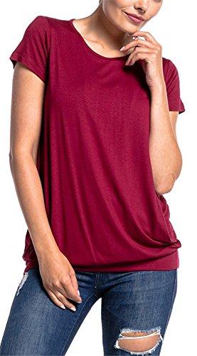 Allentato Maglietta Casual Pregnancy Estive Girocollo Popolare Corta Puro Donna Comoda Shirt T Manica Camicetta Allattamento 1 2 Top Moda Red LIOMENLA in Colore PfqwE7wx