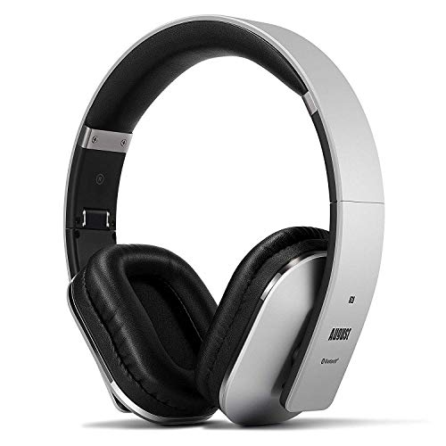Wireless Headphones - August EP650 - Stereo Bluetooth Over Ear Headphones with Multipoint/NFC / 3.5mm Audio in/Headset Microphone(Silver)