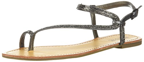 Kenneth Cole REACTION Women's Just Braid Flat Sandal with Toe Ring and Ankle Straps, Pewter, 8 M US