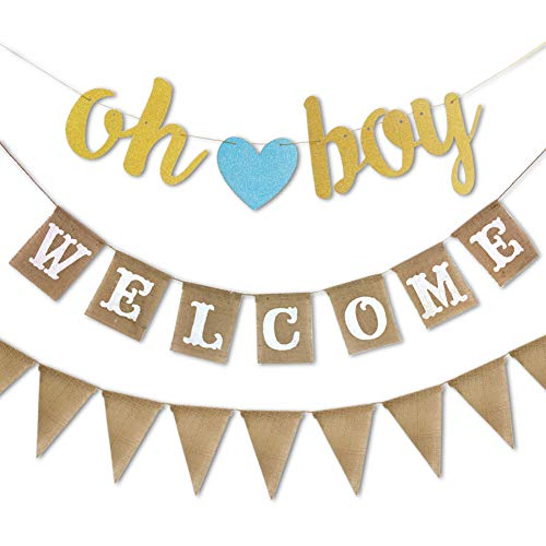 RareLove 3 PCS Blue Oh Boy Burlap Welcome Pennant Birthday Banner Flags Baby Shower Gender Reveal Party Supplies]()