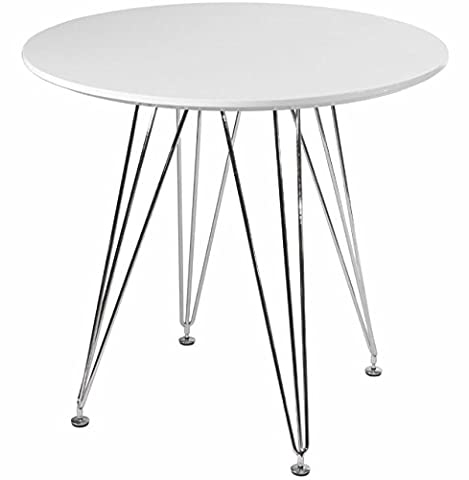Mod Made Mid Century Modern Paris Tower Round Table Bistro Table, White (White Bistro Dining Table)