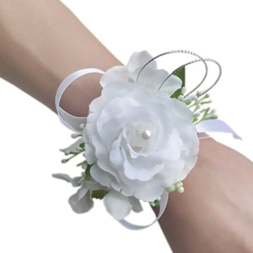 Arlai Set of 2,Wrist Corsage wristband Roses Wrist Corsage for Prom, Party, Wedding white (White Corsage)