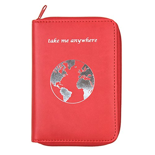 Passport Holder with Unique Zipper Closure - Multiple Colors & Travel Quotes - RFID Blocking Security Travel Wallet - Holder Protector Case for Passports, Cards, Cash and Travel Documents (B)