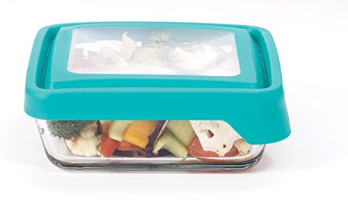 Anchor Hocking TrueSeal Glass Food Storage Container with Lid, Teal, 4 3/4 Cup