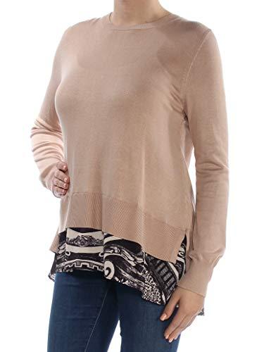 DKNY Women's Layered-Look Split-Back Sweater (M, Nude)