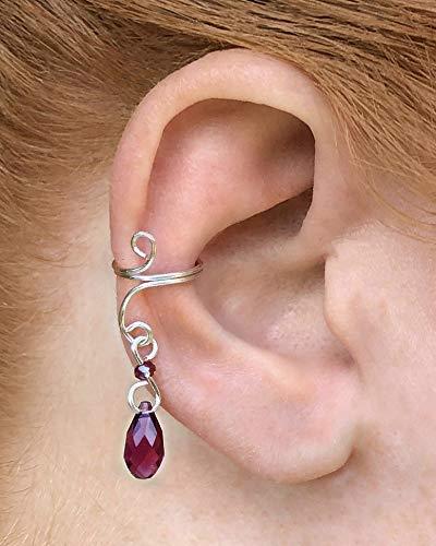 Beaded Cuff Purple - Silver Dangle Ear Cuff with Purple Swarovski Beads - Ear Cuff Earring, Beaded Silver No Piercing Helix Earrings with Beads, Sparkling Earcuff Jewelry, Dangle Cuff, Cartilage Non Pierced Ear Jewelry