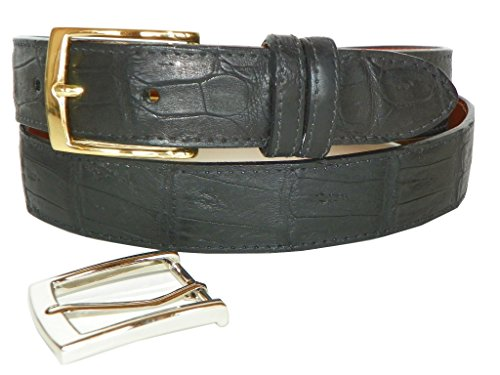 [Caiman Crocodile Belt by Charles Underwood - 2 Classic Buckles, Black, Size 40] (Caiman Crocodile Belt)