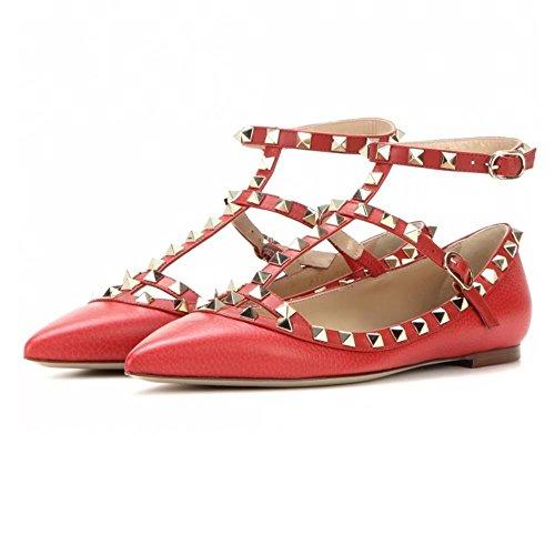 Chris-t Vrouwen Metalen Studs Strappy Gesp Puntige Teen Flats Comfortabele Kleding Pompen Schoenen 5-14 Ons Rood