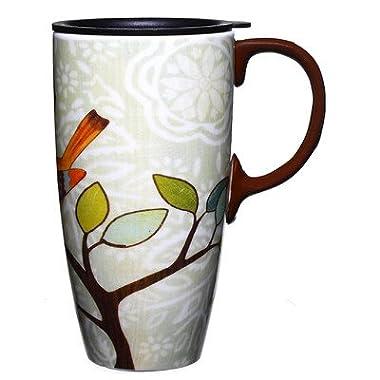 Bird and Flower Bliss Ceramic Travel Coffee Mug 17oz