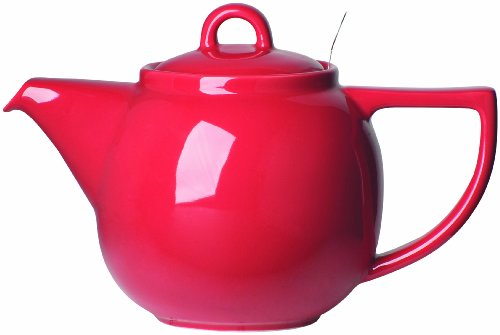 London Pottery Geo Teapot with Stainless Steel Infuser, 4 Cup Capacity, Red