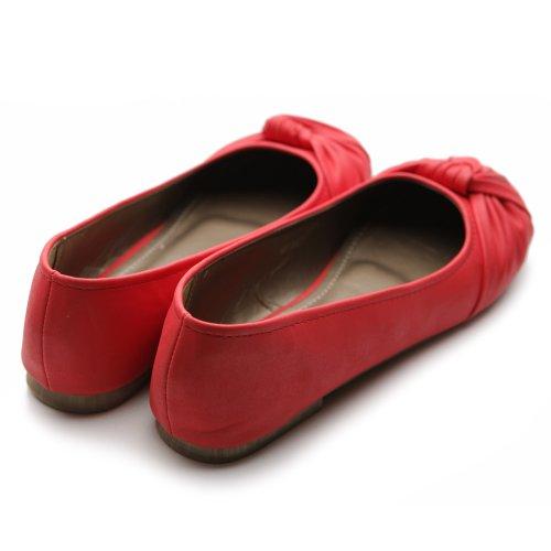 Scarpa Da Balletto Donna Ollio Comfort Rosso Multi Colore Piatto
