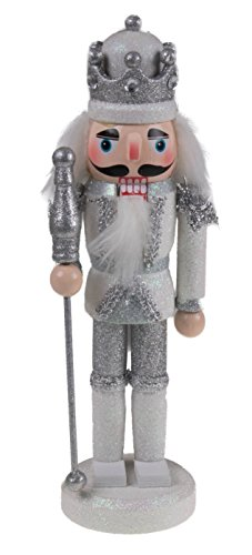 "Clever Creations Traditional King Nutcracker Collectible Wooden Christmas Nutcracker | Festive Holiday Decor | Sparkling White and Silver Uniform | Holding Silver Scepter | 100% Wood | 9.5"" -"