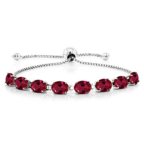 Gem Stone King 925 Sterling Silver 9.20 Ct Oval Red Created Ruby Adjustable Tennis Bracelet