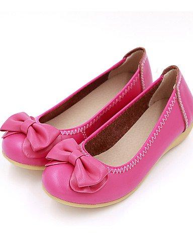 talón mujer zapatos rojo Casual fuchsia PDX us5 uk3 cn34 redonda punta Flats eu35 Beige negro de plano de PqxqItR