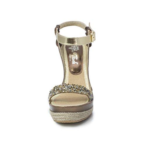 MTBALI Sandalen Alpargata mit Keilabsatz, Damen- Modell Nor Glamour Silber
