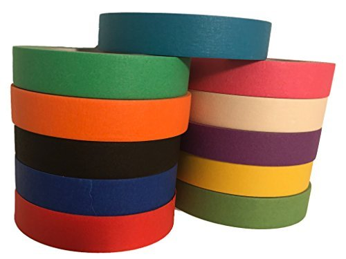 Multi Colored Pro-Grade Masking Tape 1 Inch x 60 Yards Rolls 11 Pack = 660 Yards Great for Crafts, Painting, Packing and Labeling. No Residue