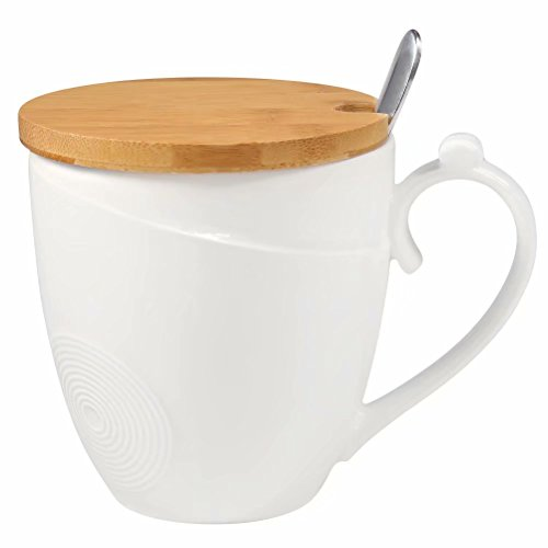 Coffee Mug with Lid and Spoon, 77L Ceramic Coffee Mug with Bamboo Lid and Spoon - Ceramic Milk, Tea Cup Set with Spoon and Lid for Home Office - 1.46 Cup (11.8 OZ, 350 ML), White