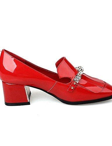 Travail bureau Décontracté noir Uk4 Red Cn36 Talons Femme Eu36 Rouge Ggx Carré Bout chaussures Talon amp; talons cuir Chaussures us6 À gros XYqxIRxwE