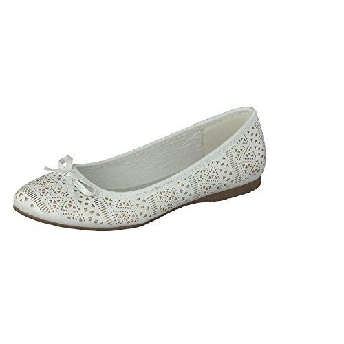 Jane Klain Zapatos Mujer Bailarinas 221-836 Diseño Corte EN Blanco con Elemento de Amarre