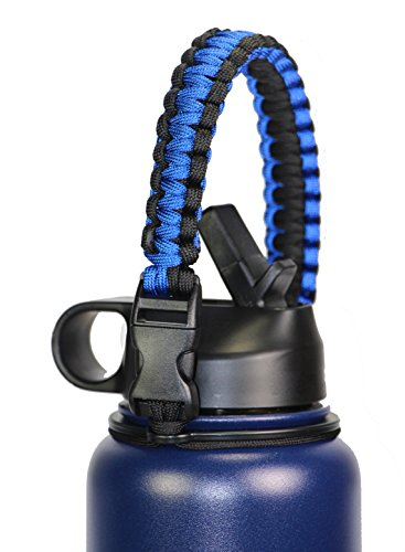 GALAXTEK Paracord Handle for Hydro Flask Wide Mouth Bottle - Durable Paracord Carrier, Secure Design Accessories, Survival Strap Cord with Safety Ring and Carabiner, Premium Quality(Deepblue/Black)