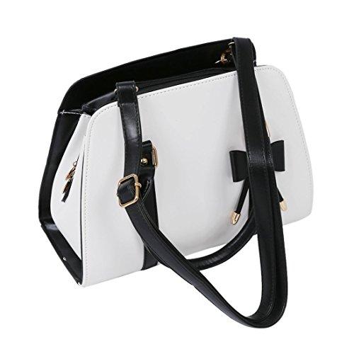 Bag Bow Handbag White SODIAL with Shoulder Womens R Messenger Hot Tote Vintage Hobo wq8YPwF