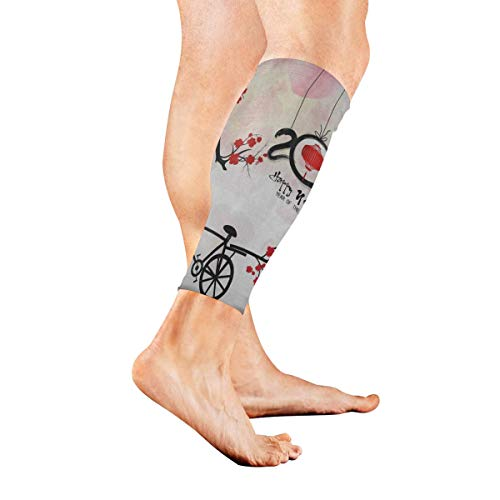 Leg Sleeve Happy New Year Blossom Floral Bike Compression Socks Support Non Slip Calf Sleeves Pads - Improve Circulation for Shin Splint, Calf Pain Recovery, Running, Cycling, Travel, 1 Pair