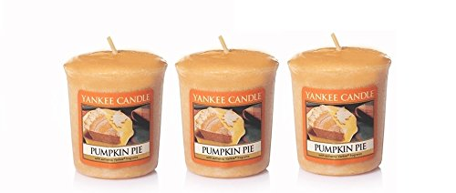 (Lot of 3 Yankee Candle PUMPKIN PIE Sampler® Votive Candles 1.75 oz Each)