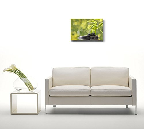 Green Plants and Smooth Stones Spa Beauty Wellness Concept Retro Style Wall Decor