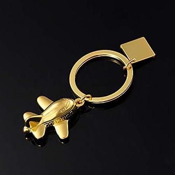 Topdo 1PCS Portachiavi Ciondolo Aereo Cool Lovely Decor for Men Girls Borsa da Donna Ciondolo Auto Christmas Birthday Gift Present Oro Gold