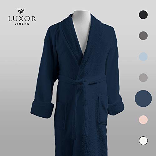 Luxor Linens - Terry Cloth Bathrobes - 100% Egyptian Cotton Bathrobe- Luxurious, Soft, Plush Durable Set of Robes (1-Piece, One Size Fits Most, Navy)