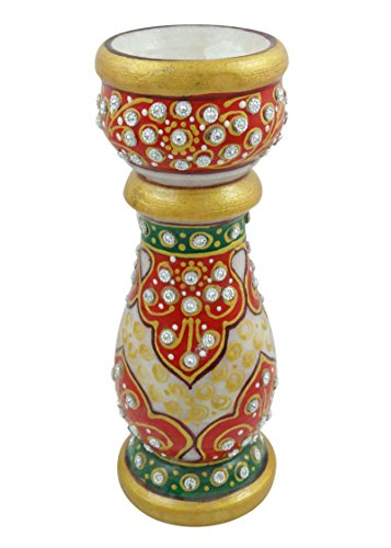 Decorative Marble Candle Stand Candlestick Holder Meenakari Art Home Table (Harmony Candlestick)